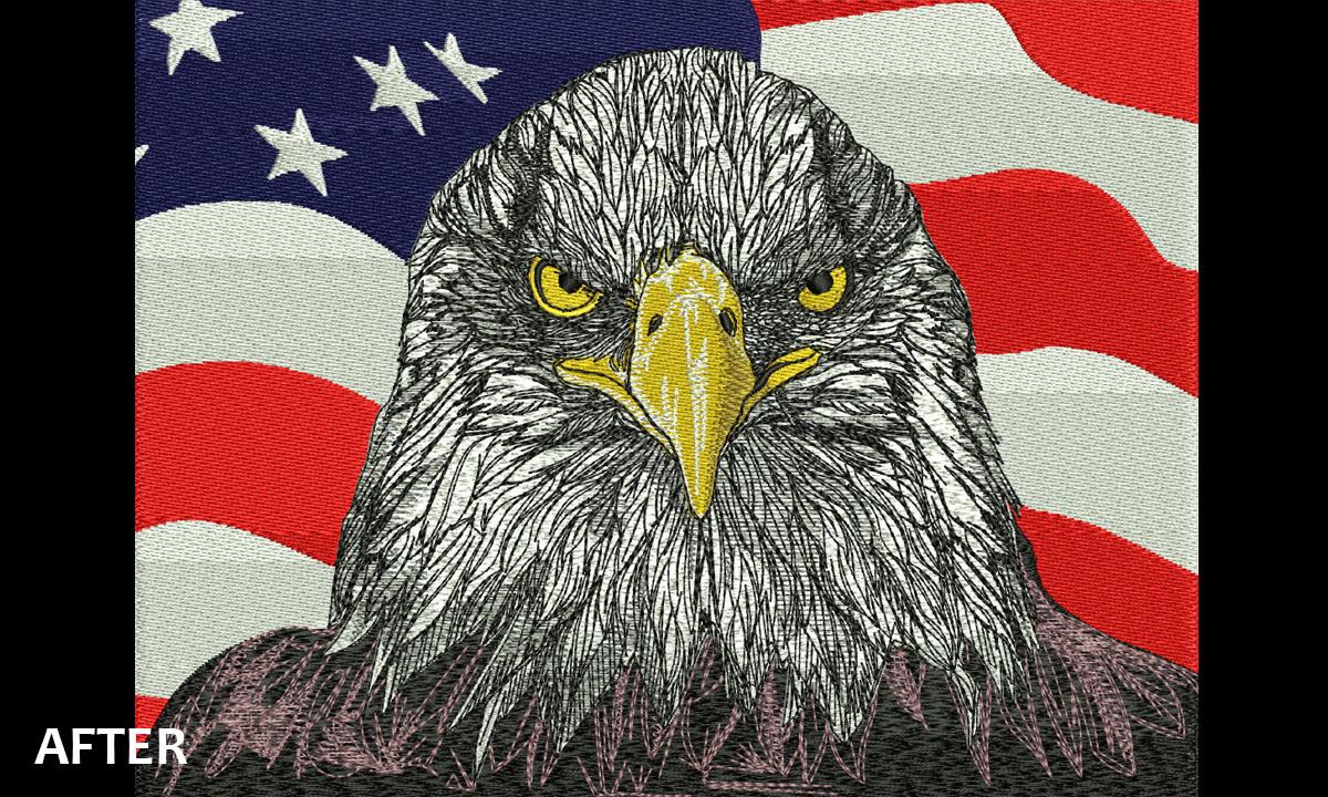 Embroidery Digitizing US Flag Eagle