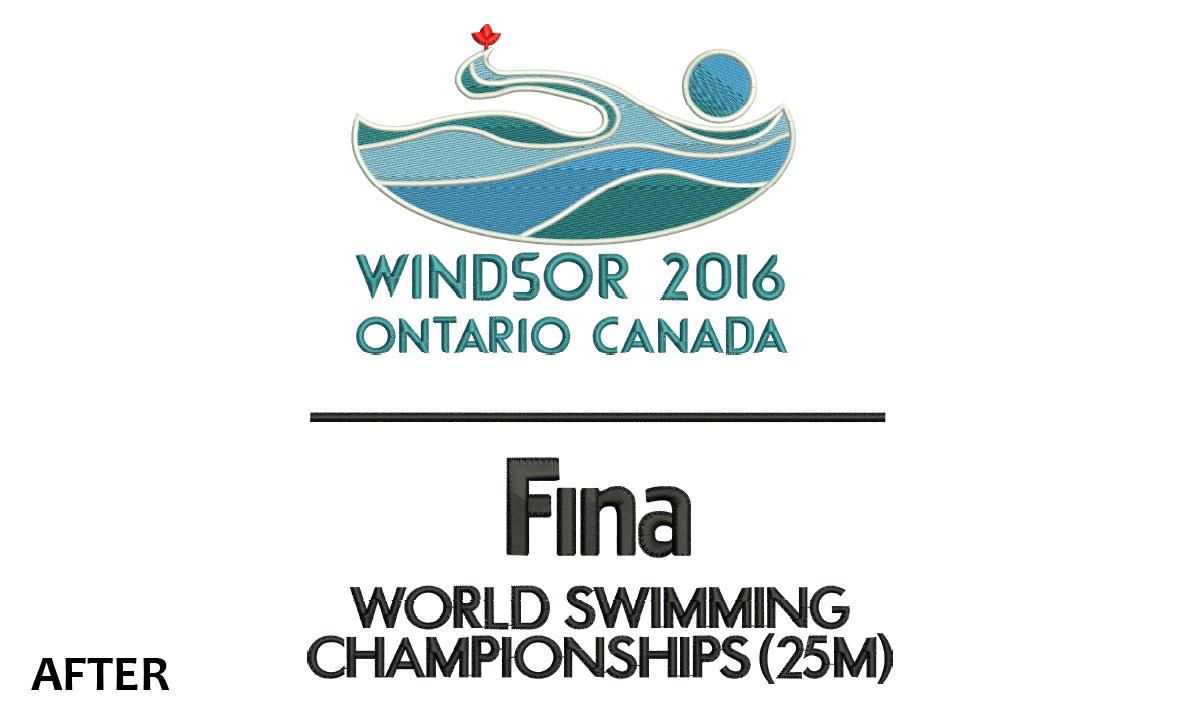 Custom Embroidery Windsor 2016 FINA Logo
