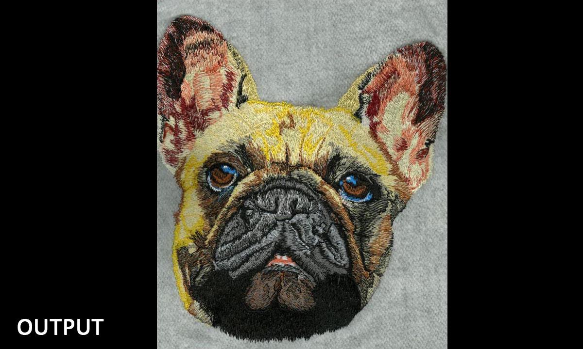 Custom Embroidery French Dog Digitizing