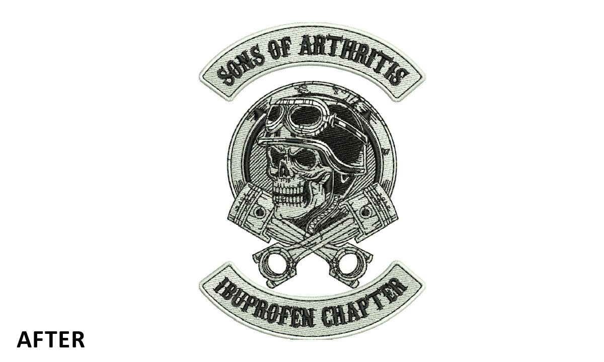 Custom Embroidery Sons of Arthritis Logo