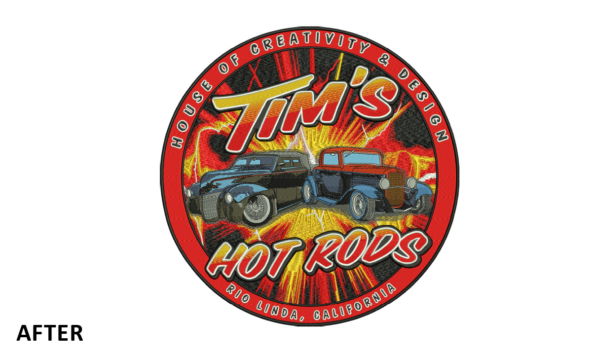 Custom Embroidery Logo For Tim's Hot Rods